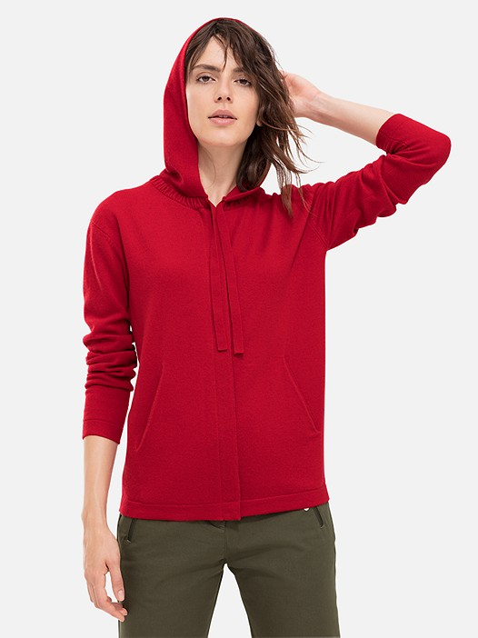 FULA V1.Y1.02 Zip-Up Knitted Cashmere Hoodie red Model shot Alpha Tauri