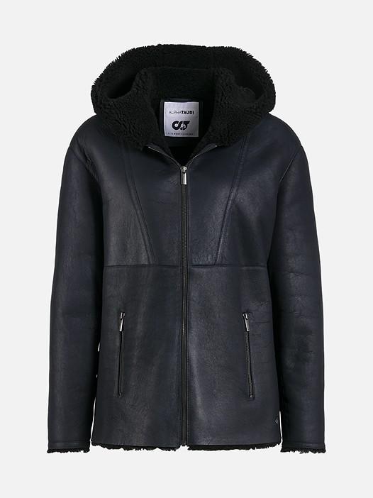 LONI V1.Y1.02 Lamb-Wool Jacket navy Back Alpha Tauri