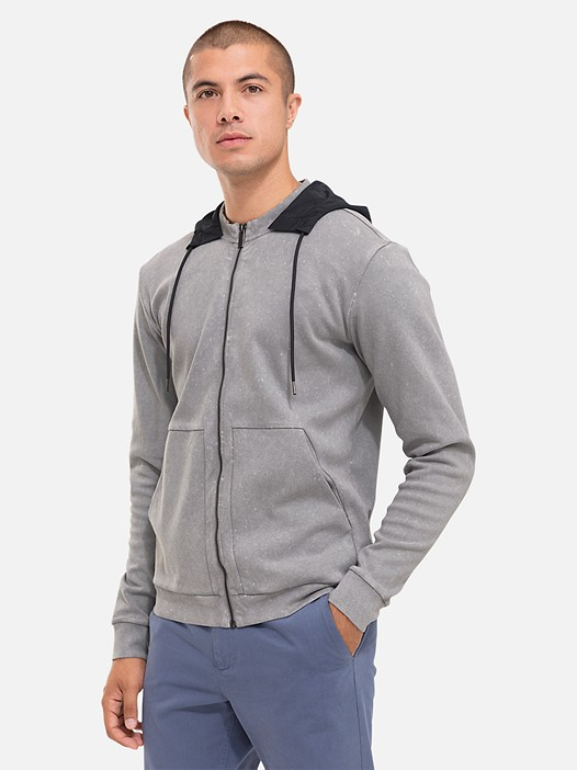 SOLF V4.Y2.01 Acid-Wash Zip-Up Sweatshirt grey Model shot Alpha Tauri