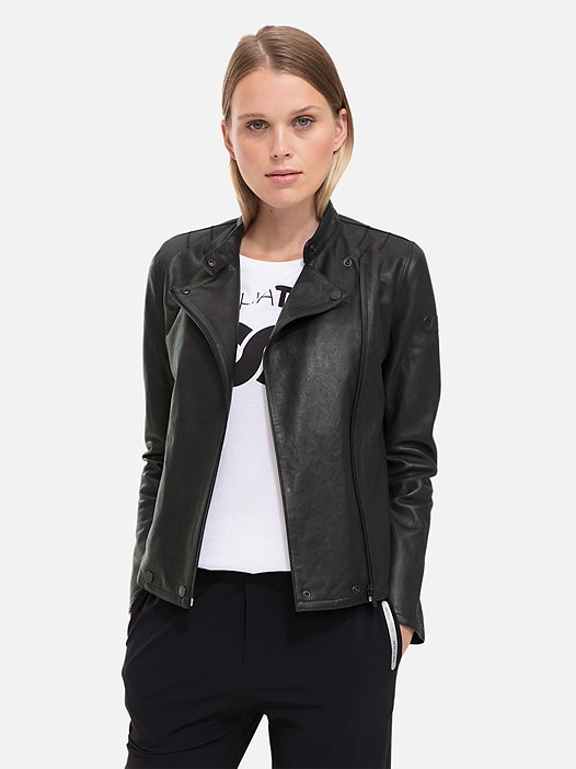 LAAK V1.Y2.01 Leather Biker Jacket black Model shot Alpha Tauri