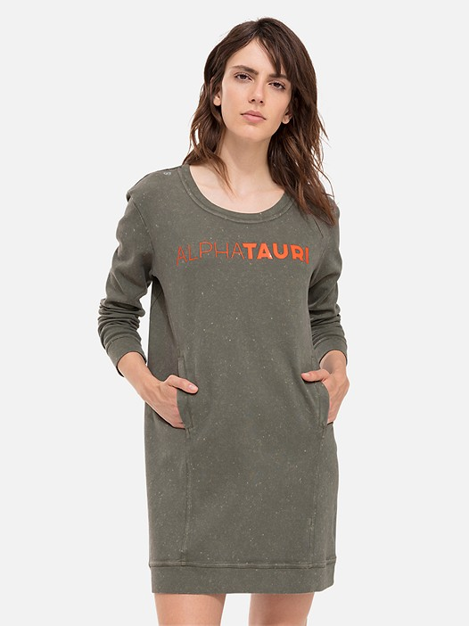 STAR V1.Y2.01 Acid Wash Sweatshirt Dress olive Model shot Alpha Tauri