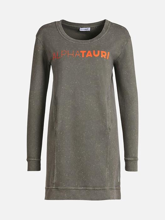 STAR V1.Y2.01 Acid Wash Sweatshirt Dress olive Back Alpha Tauri