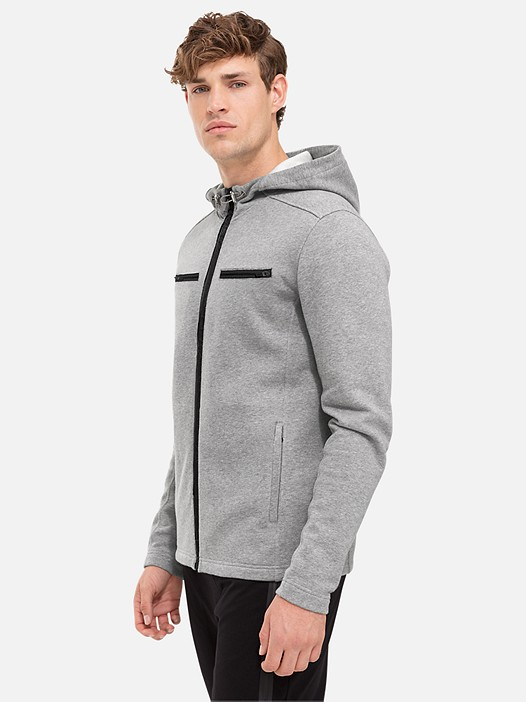 SAUP V1.Y2.02 Zip-Up Hooded Sweatshirt with Contrasting Lining grey / melange Model shot Alpha Tauri