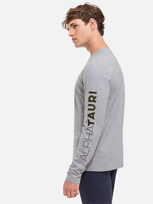 JOSO V1.Y2.01 Taurex® Long-Sleeved T-Shirt with Logo Print grey / melange Model shot Alpha Tauri