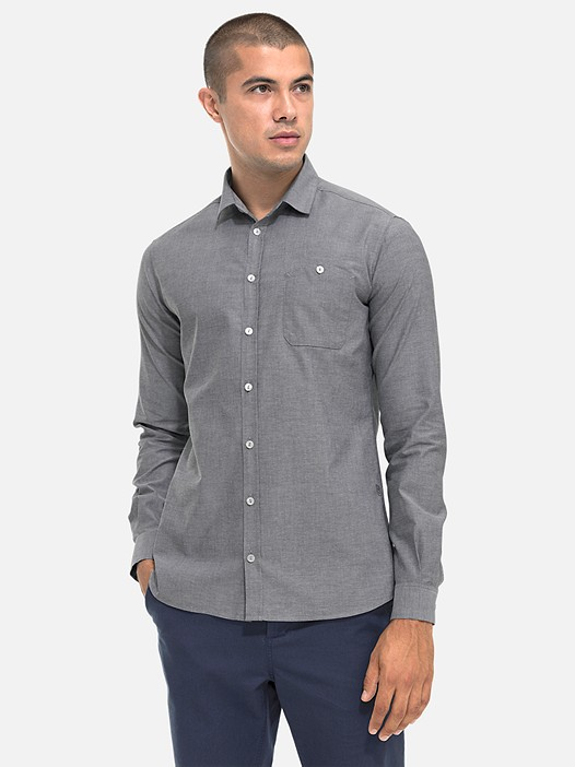 WIDT V5.Y2.02 Casual City Shirt grey Model shot Alpha Tauri