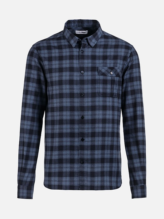WINZ V1.Y2.02 Flannel Shirt with Chest Pocket blue Back Alpha Tauri