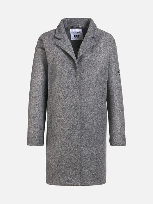 OKKA V1.Y2.02 Woollen Coat with Jersey Lining grey / melange Back Alpha Tauri