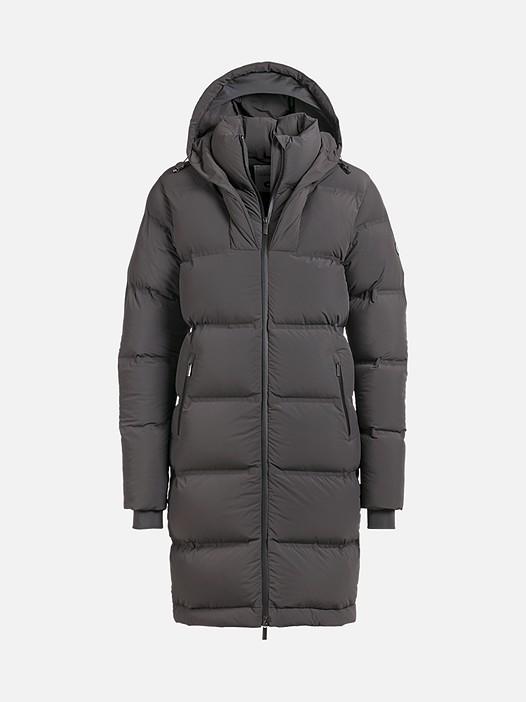 OVES V1.Y2.02 Long Primaloft® Coat dark grey Back Alpha Tauri