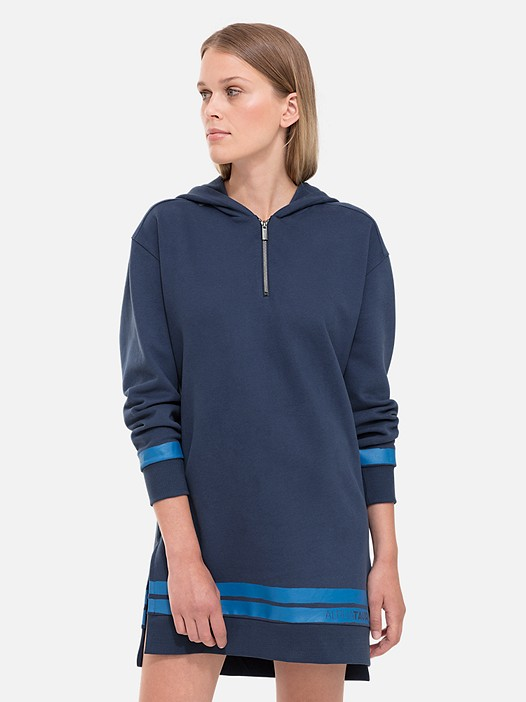SABE V1.Y2.02 Taurex® Sweatshirt Dress with Hood navy Model shot Alpha Tauri