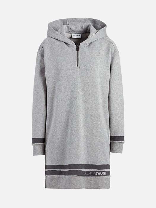 SABE V1.Y2.02 Taurex® Sweatshirt Dress with Hood grey / melange Back Alpha Tauri