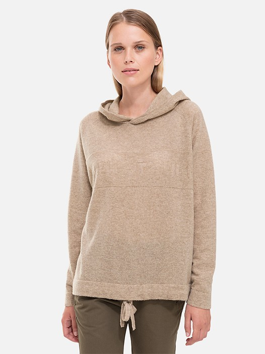 FERA V1.Y2.02 Knitted Hoodie with Cashmere beige - sand Model shot Alpha Tauri