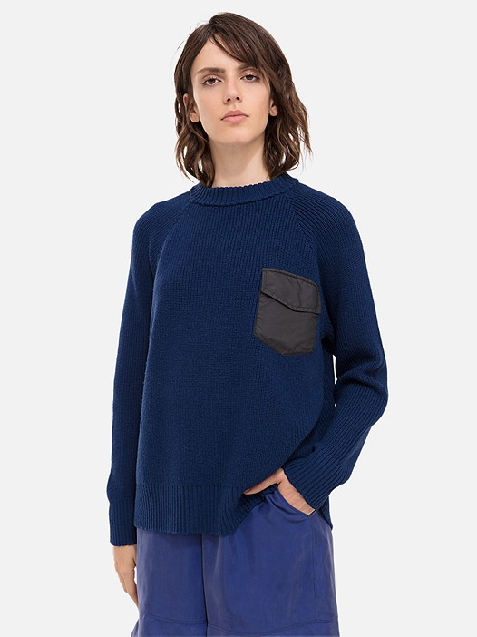 FIDA V1.Y2.02 Knitted Jumper with Chest Pocket navy Model shot Alpha Tauri