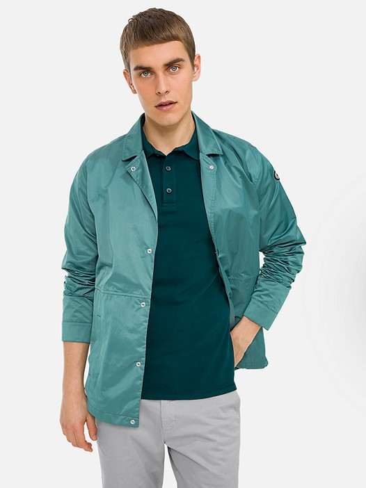 ODYSS V1.Y3.01 Coach Jacket with Back Print green Model shot Alpha Tauri