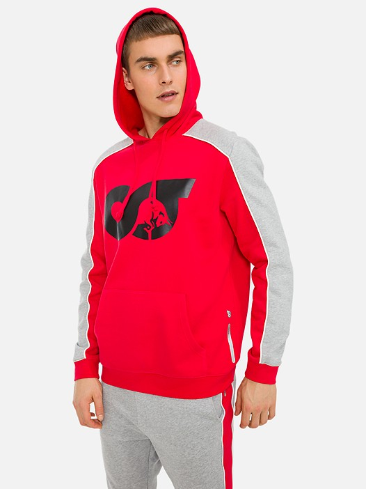 SHEN V2.Y3.01 Colour-Block Logo-Hoodie with Taurex® Technology red Model shot Alpha Tauri