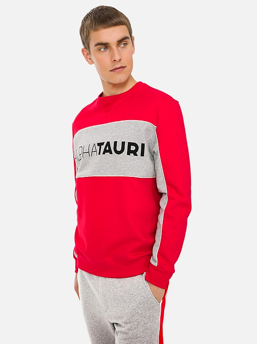 SHAAK V1.Y3.01 Colour-Block Sweatshirt with Taurex® Technology red Model shot Alpha Tauri