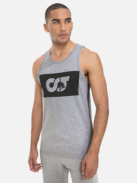 JUNIT V1.Y3.01 Tank Top with Taurex® Technology and Logo Print grey / melange Model shot Alpha Tauri