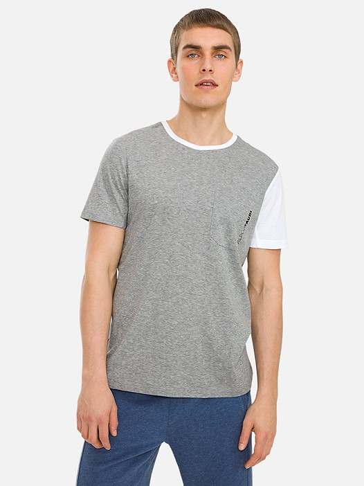 JAMBT V1.Y3.01 Colour-Block T-Shirt with Chest Pocket and Taurex® Technology grey / melange Model shot Alpha Tauri