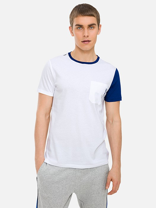 JAMBT V1.Y3.01 Colour-Block T-Shirt with Chest Pocket and Taurex® Technology white Model shot Alpha Tauri