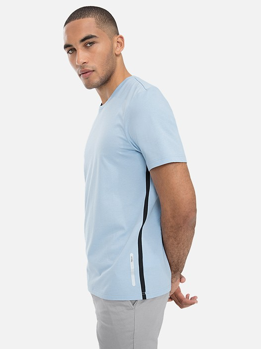 JOLOT V1.Y3.01 Classic Taurex® T-Shirt with Side-Stripes light blue Model shot Alpha Tauri