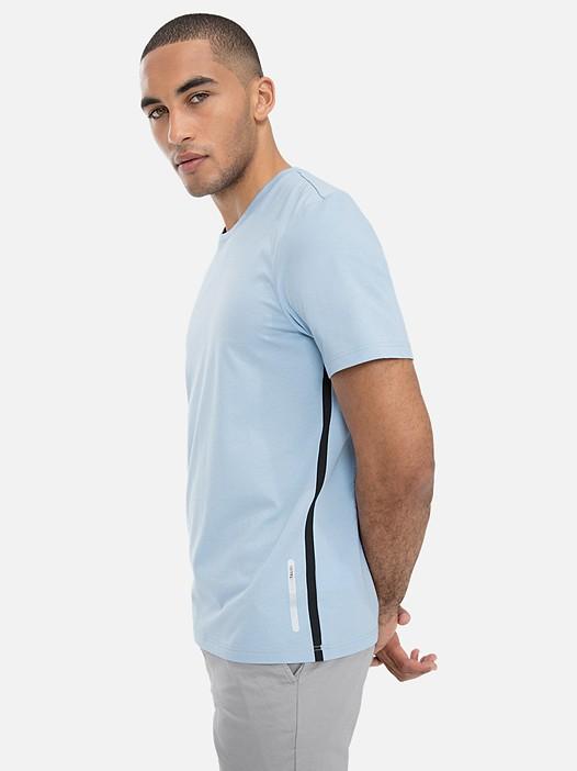 JOLOT V1.Y3.01 Classic Taurex® T-Shirt with Side-Stripes light blue Model shot Alpha Tauri