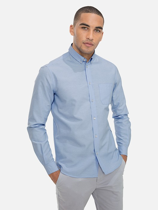 WIDT V6.Y3.01 Classic Oxford Shirt with Chest Pocket light blue Model shot Alpha Tauri