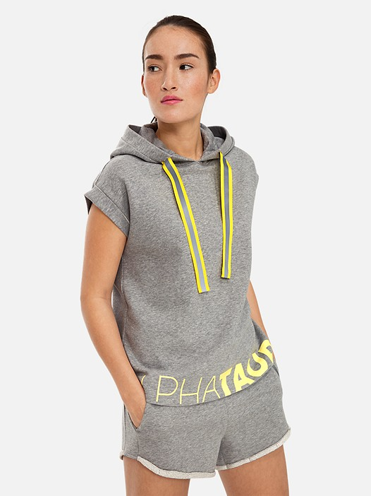 SHORN V1.Y3.01 Sleeveless Hoodie with Taurex® Technology grey / melange Model shot Alpha Tauri