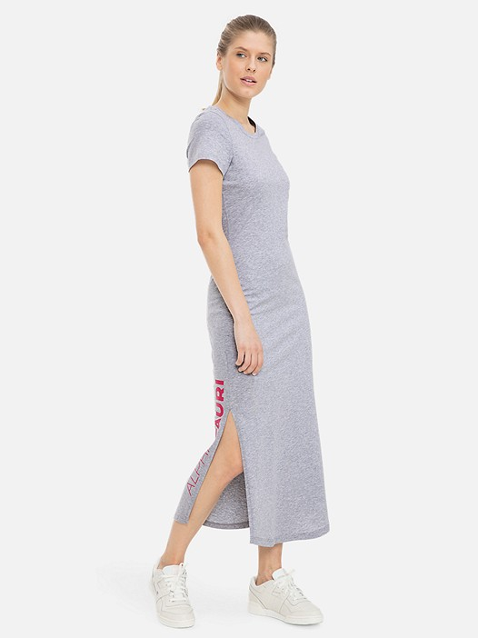 JIONG V1.Y3.01 Long Jersey Dress with Taurex® Technology grey / melange Model shot Alpha Tauri