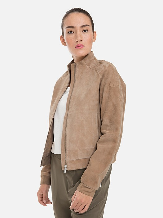 LAVIK V1.Y3.01 Soft Leather Jacket with Taurex® Technology beige - sand Model shot Alpha Tauri