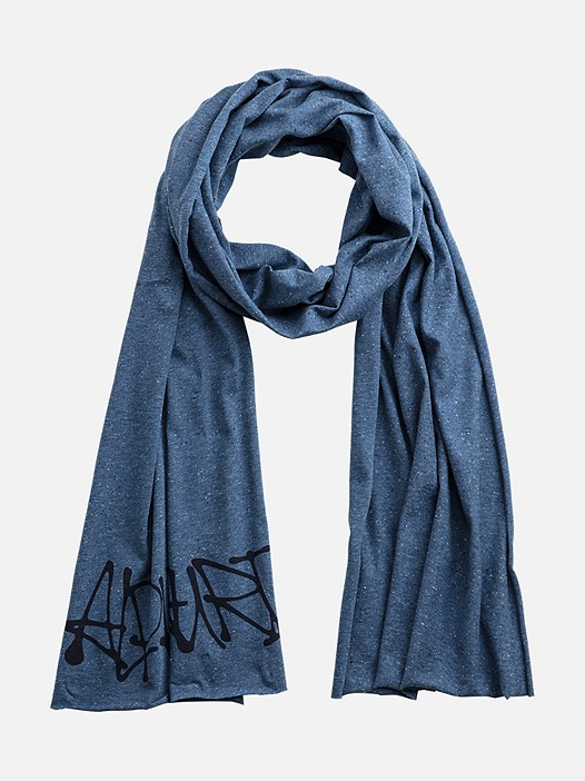 AUTUM V1.Y3.01 Jersey Scarf with Graffiti Print blue Back Alpha Tauri