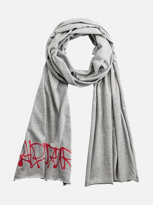 AUTUM V1.Y3.01 Jersey Schal mit Graffiti Print grey / melange Hinten Alpha Tauri