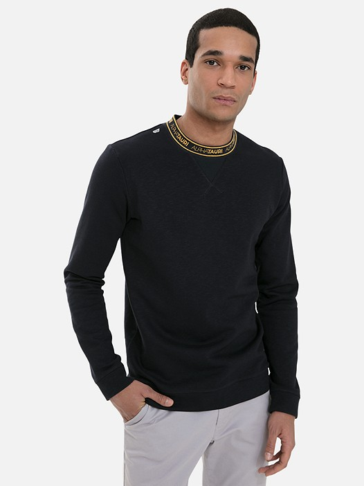 SQUEE V1.Y3.02 Classic Crewneck Sweater with Taurex® navy Model shot Alpha Tauri