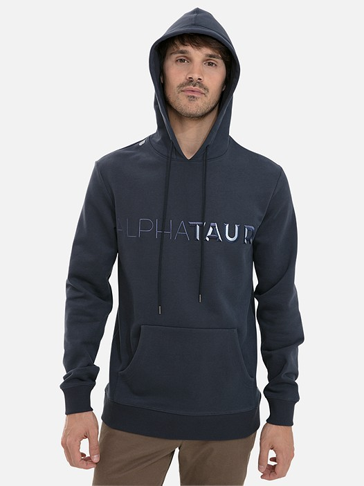SHANO V1.Y3.02 Hooded-Sweater with Logo Embroidery and Taurex® navy Model shot Alpha Tauri
