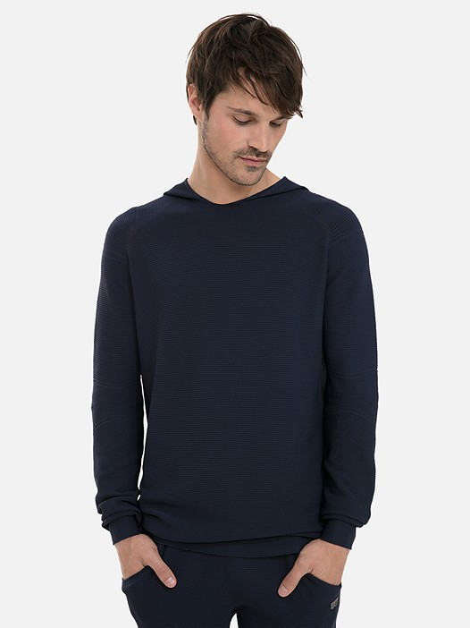 FOSOP V1.Y3.02 3D Performance Knit Hoodie navy Model shot Alpha Tauri
