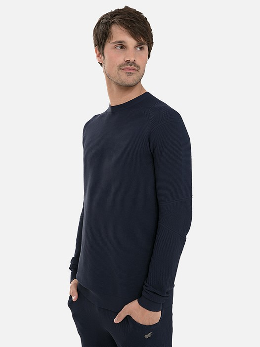 FURAP V1.Y3.02 3D Performance Knit Sweater navy Model shot Alpha Tauri