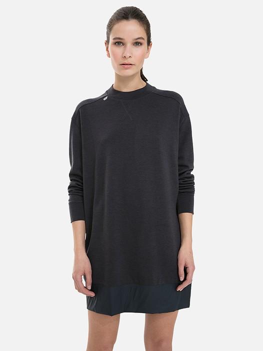STAR V2.Y3.02 Merino Wool Dress with Taurex® dark grey / anthracite Model shot Alpha Tauri