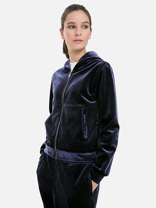 SHREMP V1.Y3.02 Velvet Zipper Jacket with Hood navy Model shot Alpha Tauri