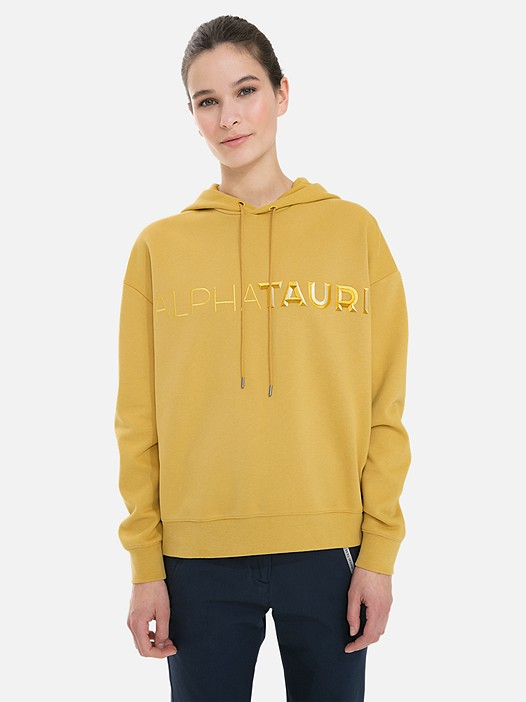SHANI V1.Y3.02 3D Embroidered Hoodie with Taurex® yellow Model shot Alpha Tauri