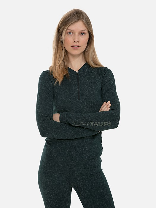 JURSA V1.Y3.02 Lurex Long-Sleeved Top with Taurex® dark green Model shot Alpha Tauri
