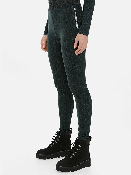 PORIV V1.Y3.01 Lurex Leggings with Taurex® dark green Model shot Alpha Tauri
